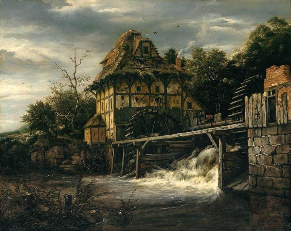 Jacob van Ruisdael – private collection. Title: Two Undershot Watermills with Men Opening a Sluice. Date: 1650s. Materials: oil on oak panel. Dimensions: 54.3 x 67.6 cm. Source: http://uploads1.wikiart.org/images/jacob-isaakszoon-van-ruisdael/two-undershot-watermills-with-men-opening-a-sluice-1650.jpg.
