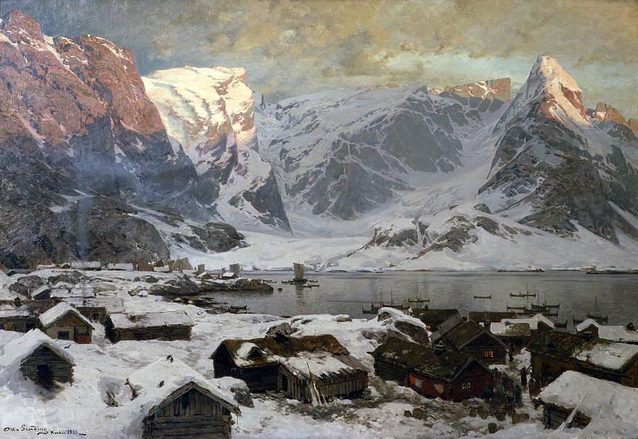 Otto Ludvig Sinding – private collection. Title: Fra Reine i Lofoten. Date: c. 1883. Materials: oil on canvas. Dimensions: 104 x 155 cm. Source:   http://i.imgur.com/YhtFRGs.jpg. I have changed the light, contrast and colors of the original photo.