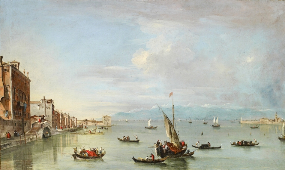 Francesco Guardi – The Ashmolean Museum. Title: Venice: the Fondamenta Nuove with the Lagoon and the Island of San Michele. Date: late 1750s. Materials: oil on canvas. Dimensions: 72 x 120 cm. Source: http://p5.storage.canalblog.com/58/62/119589/103847638_o.jpg. I have changed the light of the original photo.