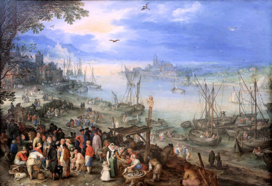 Jan Brueghel the Elder – Alte Pinakothek. Title: Fischmarkt am Ufer eines Flusses. Date: 1605. Materials: oil on copper. Dimensions: 29.5 x 42 cm. Sourcehttps://www.flickr.com/photos/mazanto/14932551442/in/photostream.