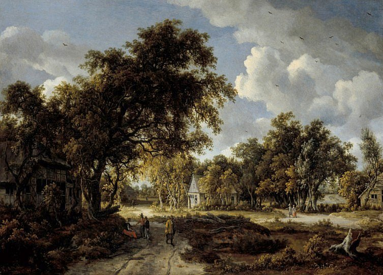 Meindert Hobbema – National Galleries of Scotland NG 2377. Title: Wooded Landscape. Date: c. 1662-1663. Materials: oil on canvas. Dimensions: 93.7 x 130.8 cm. Nr.: NG 2377. Source: https://www.nationalgalleries.org/media/42/collection/2012AA41770.jpg.  I have changed the lightof the original photo.