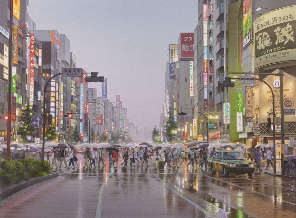 Thierry Duval  – collection of the artist. Title: L'homme à la valise dans la mousson de Tokyo. Date: 2015. Materials: watercolor on paper. Dimensions: 75 x 55 cm. Source: http://www.aquarl.free.fr/images/20150904193711_tokyo.jpg.