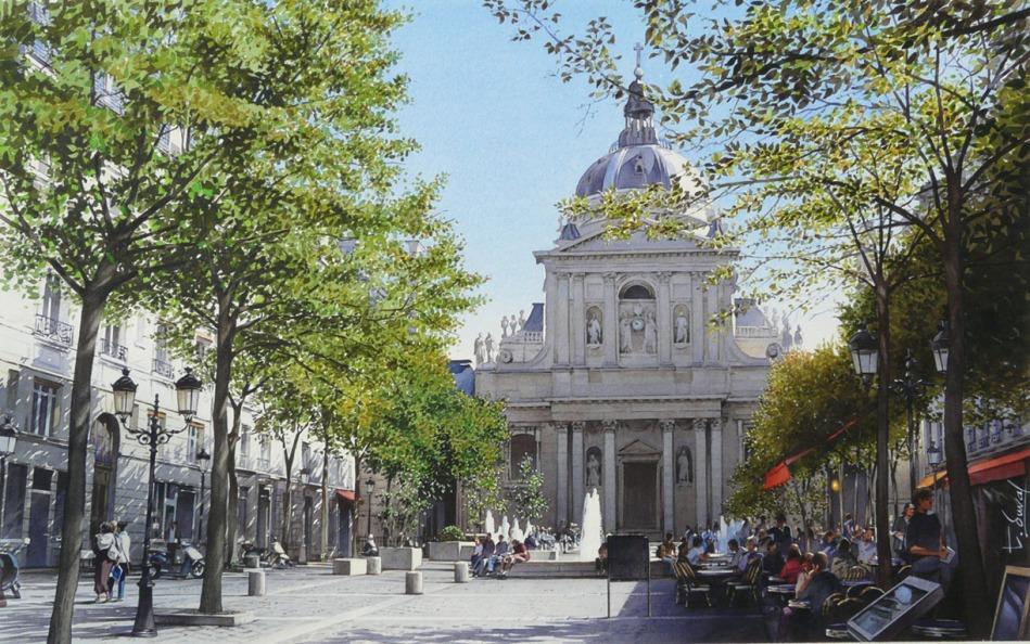 Thierry Duval – private collection. Title: La place de la Sorbonne. Date: 2011. Materials: watercolor. Dimensions: 34 x 54 cm. Source: http://2.bp.blogspot.com/-qNcPx2wOw64/T8kMJ4EsFWI/AAAAAAAAGsY/KCnaieXsjeE/s1600/Aquarela+-+Thierry+Duval4.jpg.