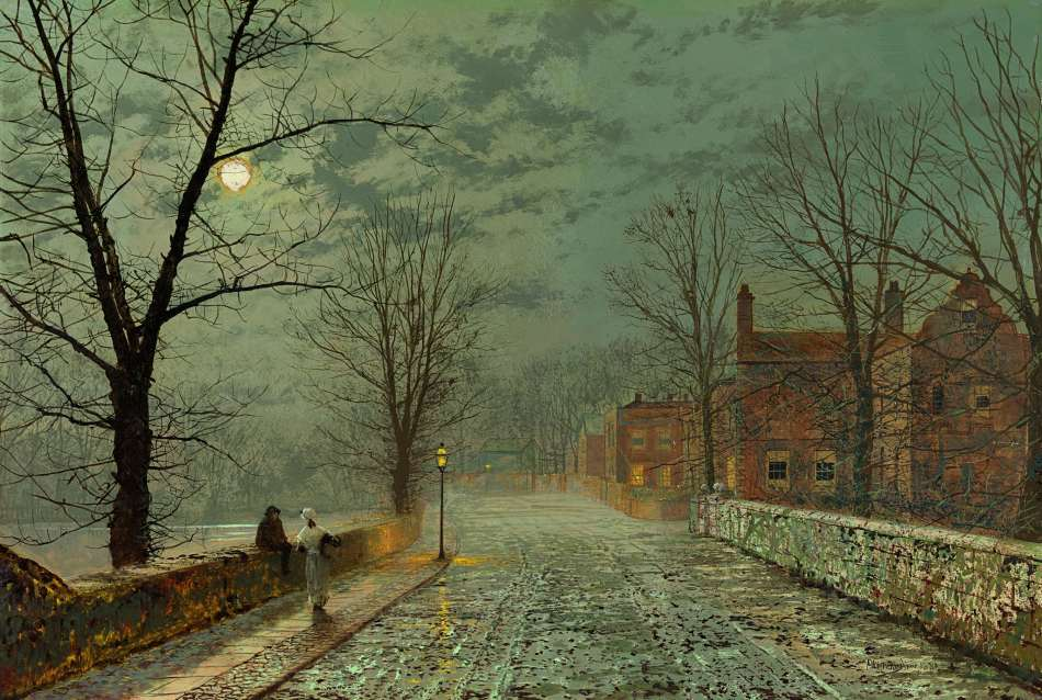 John Atkinson Grimshaw – Richard Green Gallery. Title: Bonchurch, Isle of Wight. Date: 1880. Materials: oil on card. Dimensions: 50.2 x 65.4 cm. Inscriptions: Atkinson Grimshaw 1880 (lower left). Source: http://asimg.artsolution.net/tsmedia/GreenMedia/BM60.jpg?qlt=60&cell=3000,3000&cvt=jpg.