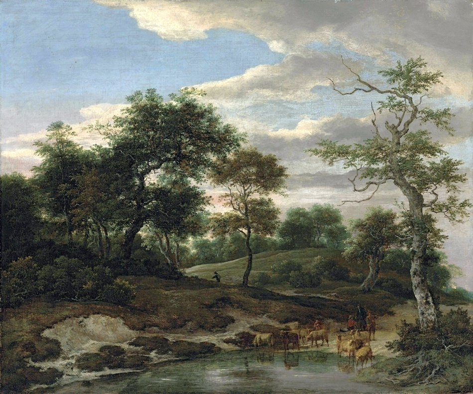 Jacob van Ruisdael  – private collection. Title: A Wooded Landscape with a Shepherd Watering his Flock. Date: 1650-1660s? Materials: oil on canvas. Dimensions: 61.9 x 73.3 cm. Inscriptions: JR (lower right).  Sold by Christie's in London, on December 5, 2012. Source: http://www.christies.com/lotfinderimages/d56300/d5630017a.jpg. I have changed the light, contrast and colors of the original photo.