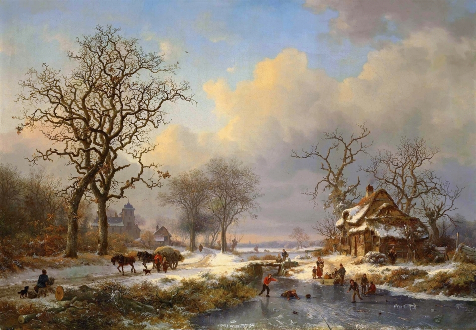 Frederik Marinus Kruseman – private collection. Title: Winter Landscape with Children Playing on the Ice. Date: 1864. Materials: oil on canvas. Dimensions: 69.8 x 100.3 cm. Inscriptions: FMKruseman fc./1864 (lower right).  Sold by Christie's in London, on November 26, 2013. Source: http://www.christies.com/lotfinderimages/d57403/d5740347a.jpg. I have changed the light, contrast and colors of the original photo.