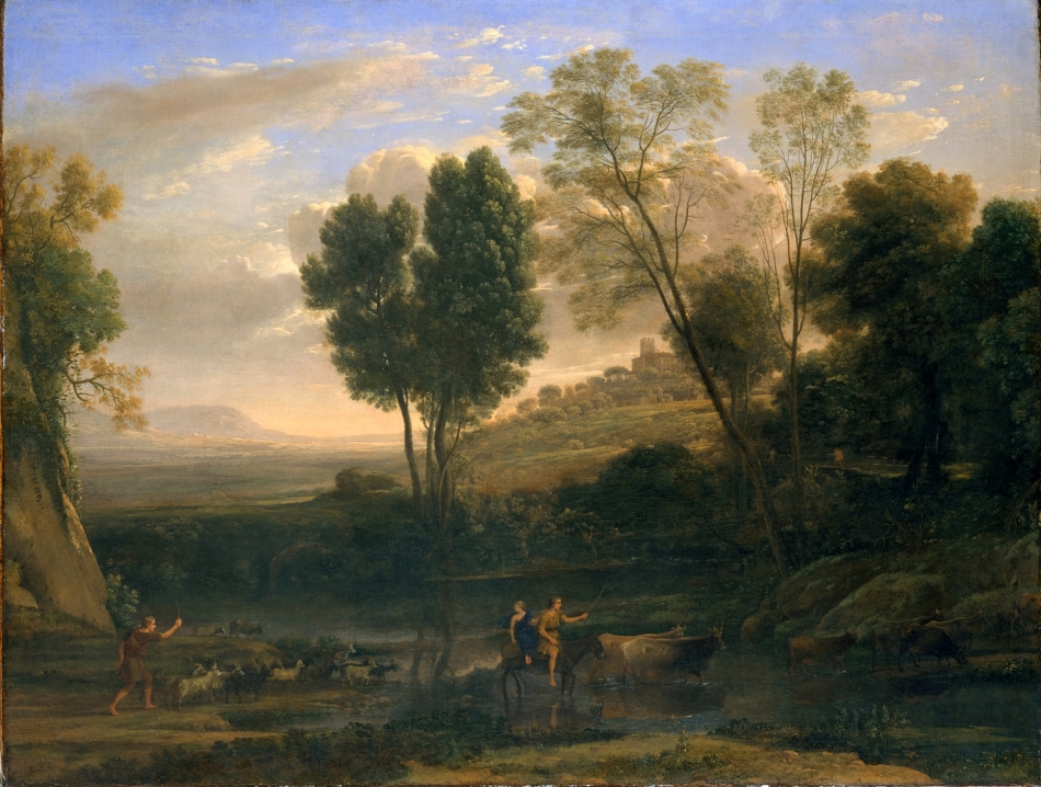 Claude Gellée (Lorrain) – The Metropolitan Museum of Art 47.12. Title: Sunrise. Date: c. 1646-1647. Materials: oil on canvas. Dimensions: 102.9 x 134 cm. Nr.: 47.12. Source: http://images.metmuseum.org/CRDImages/ep/original/DT226758.jpg. I have changed the contrast of the original photo.