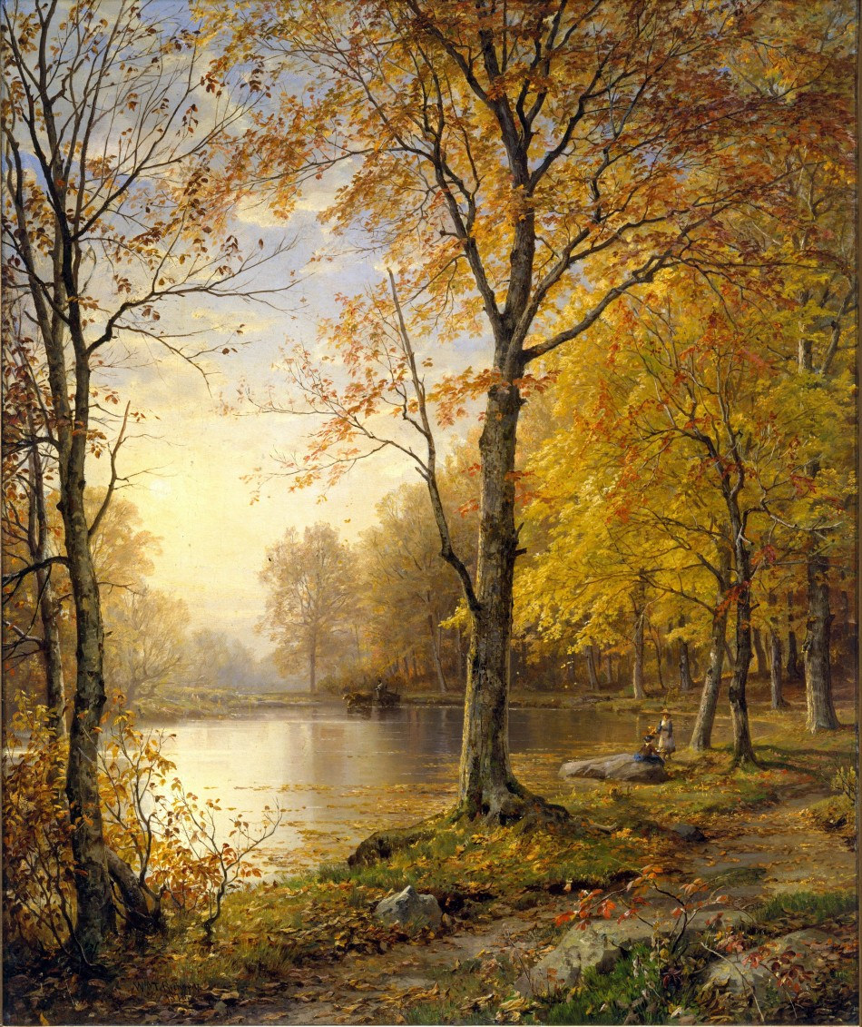 William Trost Richards – The Metropolitan Museum of Art 25.110.6. Title: Indian Summer. Date: 1875. Materials: oil on canvas. Dimensions: 61.3 x 50.8 cm. Source: http://images.metmuseum.org/CRDImages/ap/original/DT276257.jpg. I have changed the light, contrast and colors of the original photo.