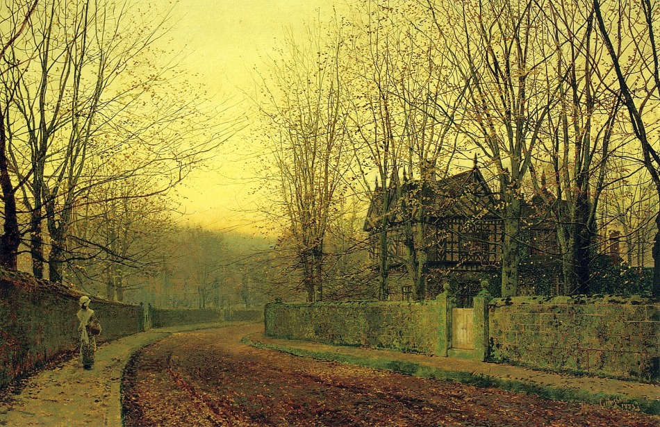 John Atkinson Grimshaw – private collection. Title: The Last Gleam. Date: 1883. Materials: oil on canvas. Dimensions: 50.8 x 76.5 cm. Auctioned by Christie's in London, on June 8, 2006. Source: http://www.artscroll.ru/Images/2008/j/John%20Atkinson%20Grimshaw/000109.jpg. I have changed the light, contrast and colors of the original photo.