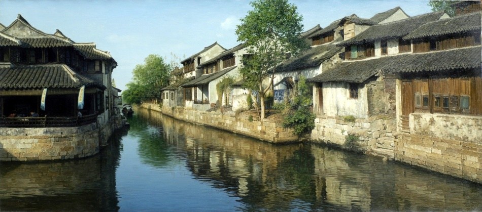 Yihua Wang – Odon Wagner Gallery. Title: Ancient Town, XiTang. Date: 2015. Materials: oil on canvas. Dimensions: 74 x 170 cm. Source: http://www.odonwagnergallery.com/uploads/paintings/2000/17610YihuaAncientTown%2029.5x67in.jpg. I have changed the light, contrast and colors of the original photo.