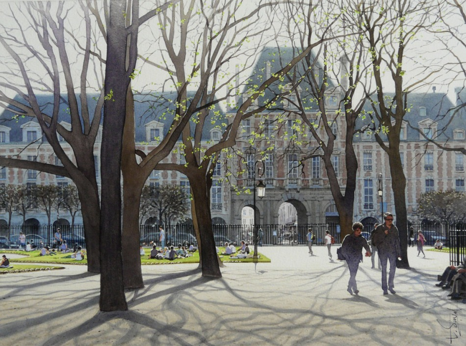Thierry Duval – private collection. Title: La Place de Vosges. Date: 2012. Materials: watercolor. Dimensions: 27 x 37 cm. Source: http://www.aquarl.free.fr/images/20120505115539_la%20place%20des%20vosges.jpg.