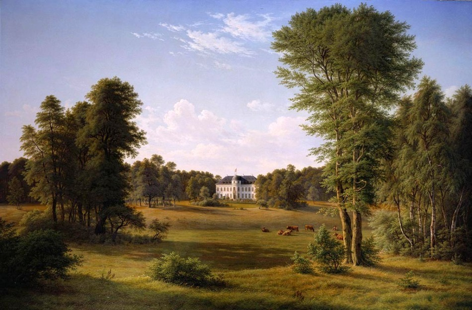Frederik Christian Kiaerskou – The Royal Collection RCIN 405124. Title: Bernstorff House and Park. Date: 1863. Materials: oil on canvas. Dimensions: 193 x 292.1 cm. Nr.: RCIN 405124. Source: https://www.royalcollection.org.uk/collection/search#/12/collection/405124/bernstorff-house-and-park. I have changed the light and contrast of the original photo.