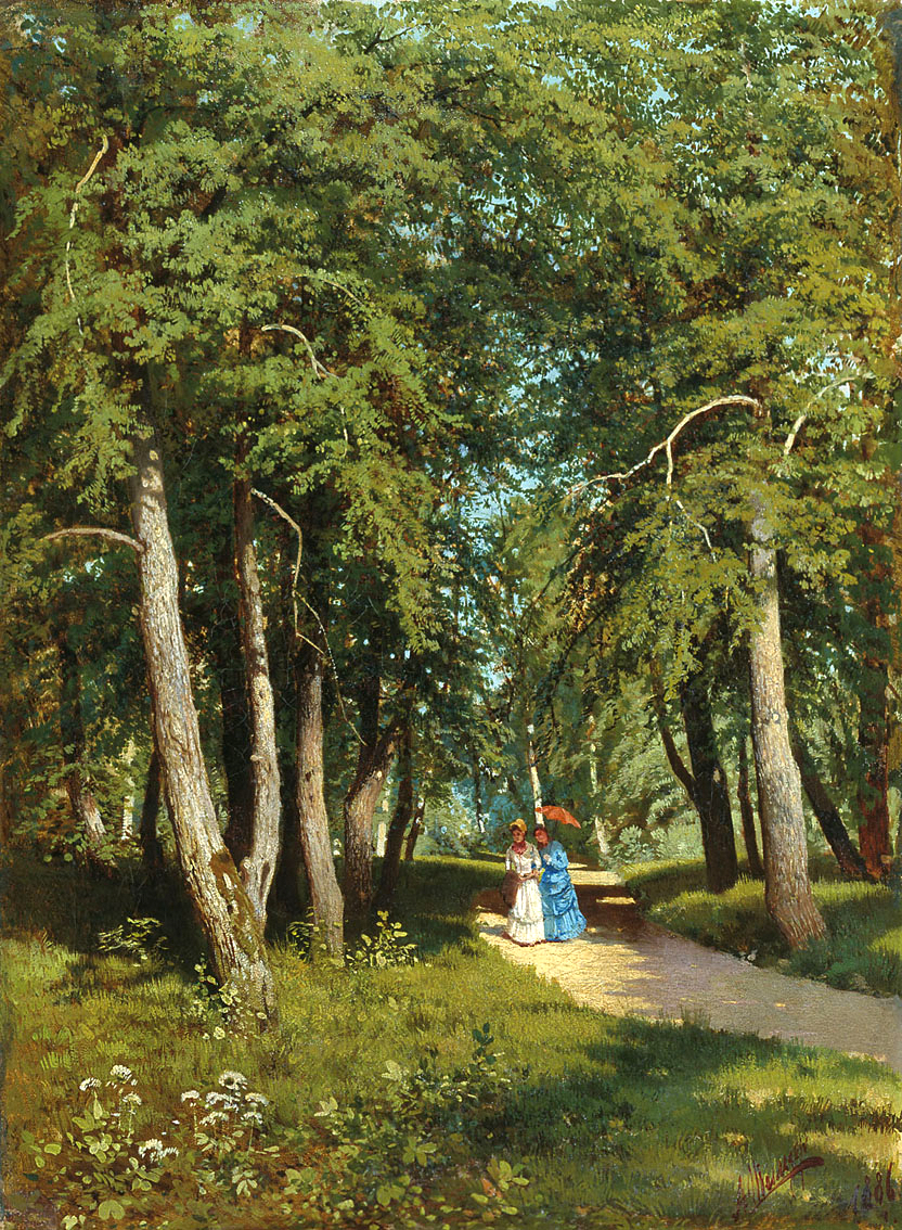 Andrey Schilder – The Rybinsk State Museum of Architectural History and Art. Title: В парке/In the park. Materials: oil on canvas. Dimensions: 61 x 45 cm. Source: http://19thcenturyrusspaint.blogspot.ro/2012/11/andrei-nikolaevich-schilder.html. I have changed the contrast of the original photo.