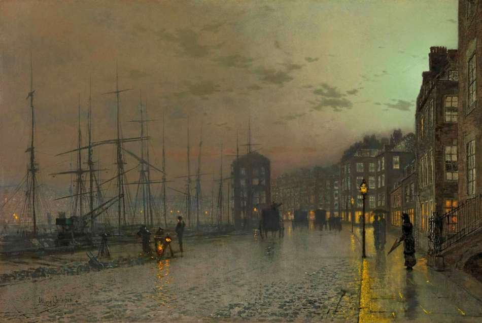 John Atkinson Grimshaw – Richard Green Gallery. Title: Clyde Shipping. Date: 1883. Materials: oil on canvas. Dimensions: 51.4 x 76.2 cm.  Inscriptions: Clyde Shipping/Atkinson Grimshaw/1883 (on the reverse). Source: http://asimg.artsolution.net/tsmedia/GreenMedia/BL33.jpg?qlt=60&cell=3000,3000&cvt=jpg. I have changed the light of the original photo.