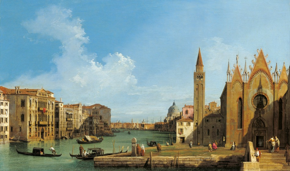 Canaletto - The Royal Collection RCIN 400523. Title: The Grand Canal looking east from the Carità towards the Bacino. Date: C. 1727-1728. Materials: oil on canvas. Dimensions: 47.9 x 80 cm. Acquisition: Joseph Smith; from whom bought by George III. Nr.: RCIN 400523. Source: http://3daysinlondon.info/wp-content/uploads/2014/12/Canaletto-The-Grand-Canal-Set-Royal-Collection-Trustc-Her-Majesty-Queen-Elizabeth-II-2014-4.jpg. I have changed the contrast of the original photo.