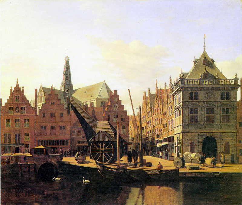 Gerrit Berckheyde – Musée de la Chartreuse (Douai). Title: View of the river Spaarne, Haarlem. Date: c. 1669. Materials: oil on panel. Dimensions: 44 x 53 cm. Source: http://www.kzod.nl/wp-content/uploads/2013/09/De-Waag-Gerrit-Berkhyede-1.jpg. I have changed the light and contrast of the original photo.