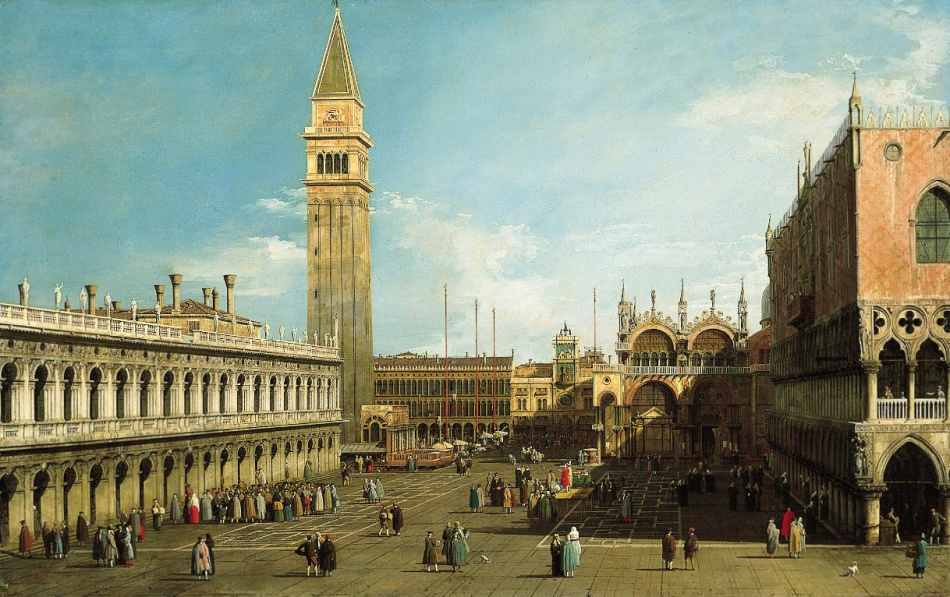 Canaletto – The Norton Simon Museum F.1964.2.P. Title: The Piazzetta, Venice, Looking North. Date: early 1730s. Materials: oil on canvas. Dimensions: 75.9 x 119.7 cm. Nr.: F.1964.2.P. Source: http://www.nortonsimon.org/collections/browse_artist.php?name=Canal%2C+Giovanni+Antonio%2C+called+Canaletto. I have changed the contrast of the original photo.