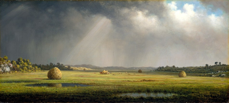 Martin Johnson Heade – Metropolitan Museum of Art 1985.117. Title: Newburyport Meadows. Date: c. 1876-1881. Materials: oil on canvas. Dimensions: 26.7 x 55.9 cm. Inscriptions: M J Heade (lower right corner); Newburyport Meadows (on the back of stretcher). Nr.: 1985.117. Source: http://images.metmuseum.org/CRDImages/ap/original/DT2050.jpg. I have changed the light, contrast and colors of the original photo.