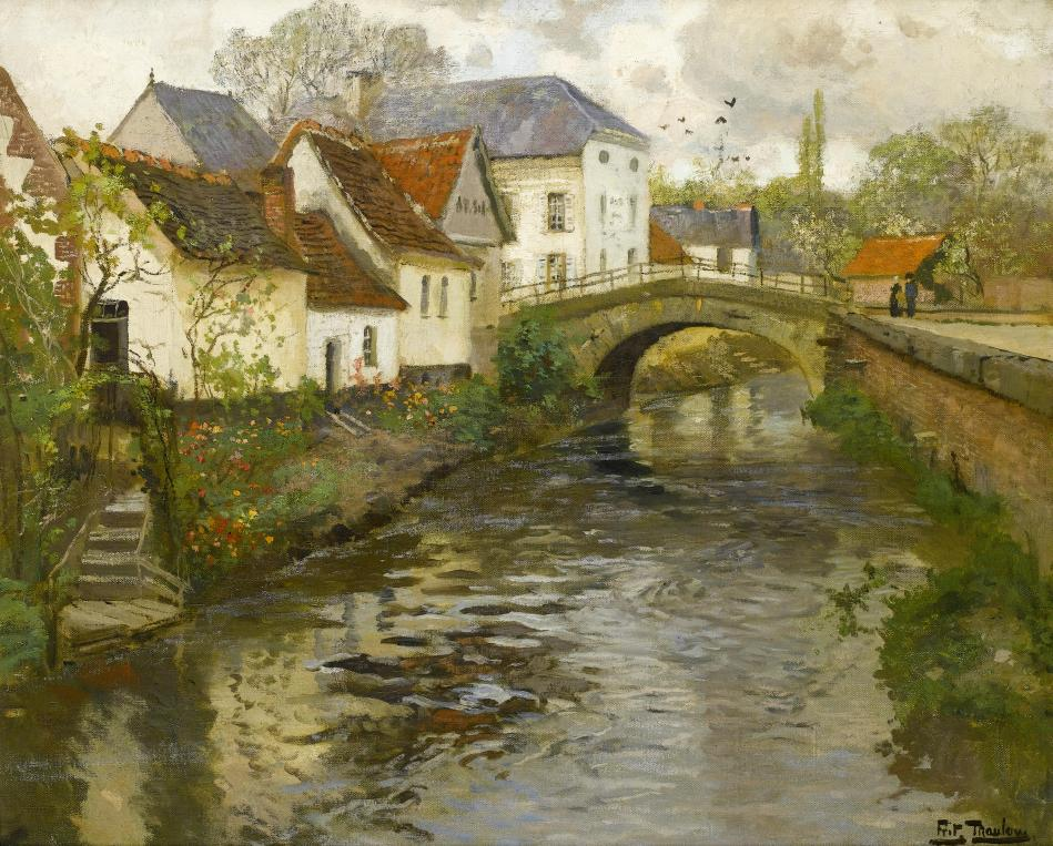 Frits Thaulow – private collection. Title: Small Town near La Panne, Belgium. Date: c. 1905. Materials: oil on canvas. Dimensions: 64 x 76.5 cm. Inscriptions: Frits Thaulow (lower right). Sold by Bonhams, in London, on October 29, 2008. Source: https://commons.wikimedia.org/wiki/File:Frits_Thaulow_-_Small_town_near_La_Panne,_1905.jpg.