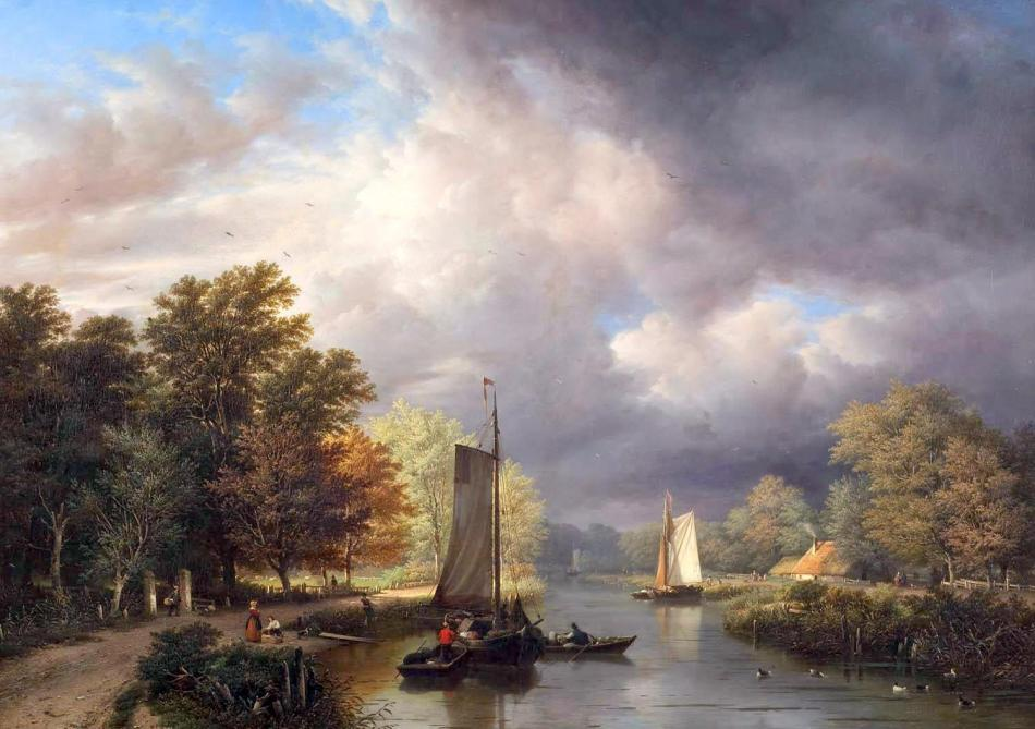 Georg Gillis van Haanen – Rademakers Collection RC01:RC046 (doek). Title: Riviergezicht met donderwolken. Date: 1851. Materials: oil on canvas. Dimensions: 76 x 108 cm. Nr.: RC01:RC046 (doek). Source: https://commons.wikimedia.org/wiki/File:Georg_Gillis_van_Haanen_-_Riviergezicht_met_donderwolken.jpg. I have changed the light, contrast and colors of the original photo.
