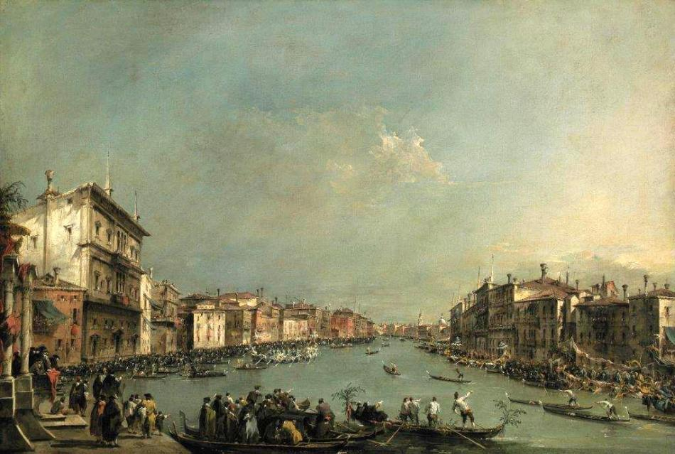 Francesco Guardi – Museu Calouste Gulbenkian 391. Title: A Regatta on the Grand Canal. Date: c. 1775. Materials: oil on canvas. Dimensions: 61 x 91 cm. Nr.: 391. Source: http://museu.gulbenkian.pt/prjdir/gulbenkian/images/mediaRep/museu/FTP_files/files/colecao/pintura/Inv._391.jpg. I have changed the contrast of the original photo.