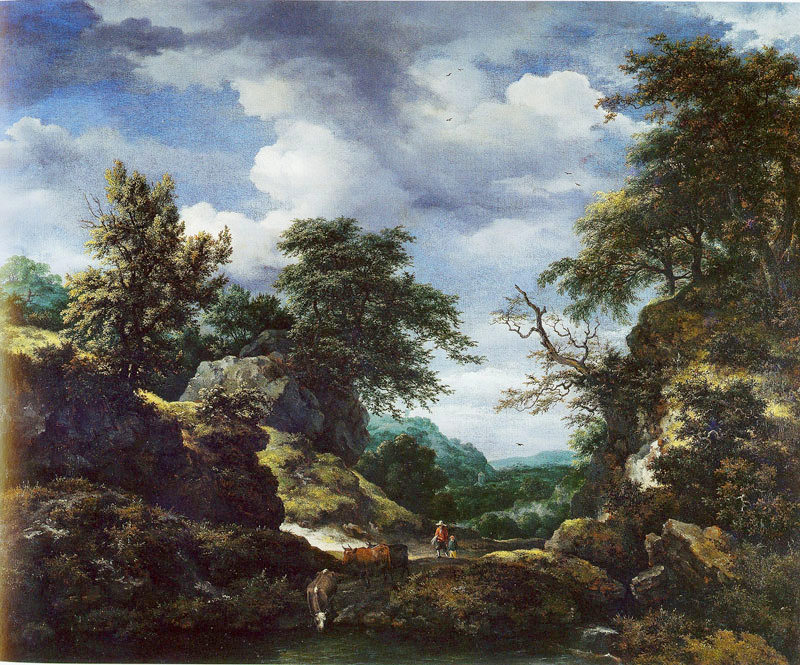 Jacob van Ruisdael – Collection of the Duke of Buccleuch and Queensberry. Title: Hilly Wooded Landscape with Castle. Date: c. 1653. Materials: oil on canvas. Dimensions: 98 x 124 cm. Source: https://commons.wikimedia.org/wiki/File:Jacob_van_Ruisdael_-_Hilly_Wooded_Landscape_with_Castle.jpg. I have changed the light and contrast of the original photo.
