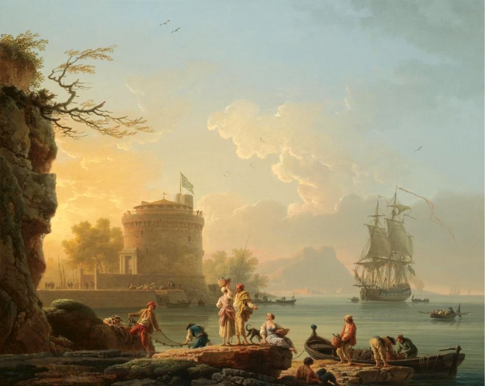 Claude-Joseph Vernet – private collection. Title: A Meditarranean Harbor Scene at Sunset with Fishermen Unloading Their Catch Before a Round Fortress, a Man-of-War at Anchor Beyond. Date: 1776. Materials: oil on canvas. Dimensions: 64.9 x 80.8 cm. Inscriptions: J. Vernet f/ 1765. Sold by Sotheby's in London, on July 4, 2007. Source: http://www.sothebys.com/content/dam/stb/lots/L07/L07031/L07031-64-lr-1.jpg. I have changed the contrast of the original photo.