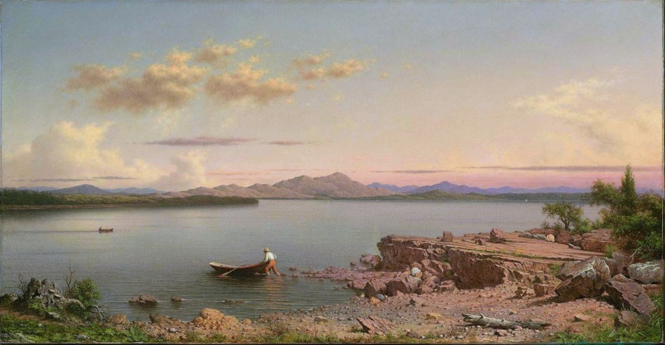Martin Johnson Heade – Museum of Fine Arts (Boston) 64.430. Title: Lake George. Date: 1862. Materials: oil on canvas. Dimensions: 66 x 125.4 cm. Source: http://www.mfa.org/collections/object/lake-george-33800. I have changed the light, contrast and colors of the original photo.