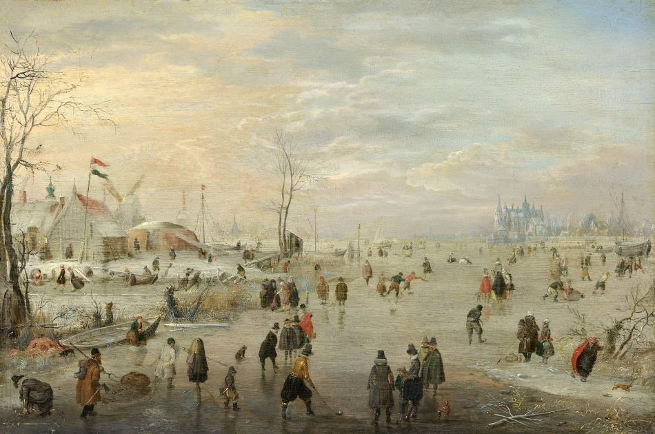 Hendrik Avercamp – Rijksmuseum SK-A-3247. Title: Enjoying the Ice. Date: c. 1615-1620. Materials: oil on panel. Dimensions: 24.5 x 37.5 cm. Inscriptions: H.A. (monogram, bottom right). Acquisition date: 1936. Nr.: SK-A-3247. Source: https://www.rijksmuseum.nl/en/collection/SK-A-3247. I have changed the contrast of the original photo.