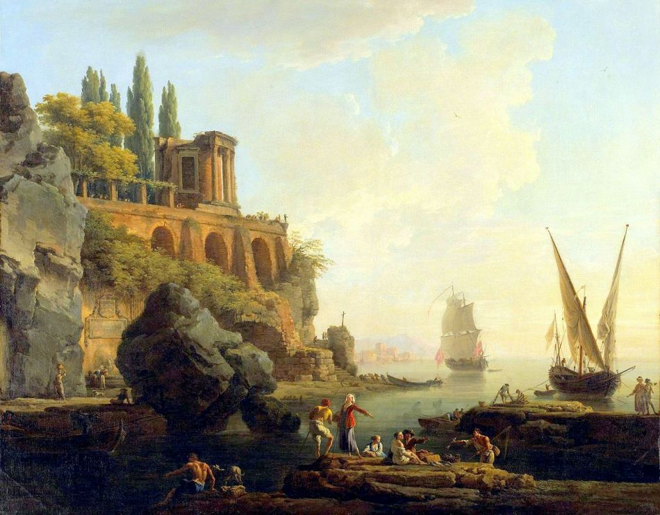 Claude-Joseph Vernet - Minneapolis Institute of Art 66.61.2. Title: Imaginary Landscape, Italian Harbor Scene. Date: 1746. Materials: oil on canvas. Dimensions: 95.9 x 120.6 cm. Nr.: 66.61.2. Source: https://commons.wikimedia.org/wiki/File:Vernet_Claude-Joseph_-_Paysage_imaginaire,_sc%C3%A8ne_portuaire_italienne.jpg. I have changed the  light, contrast and colors of the original photo.