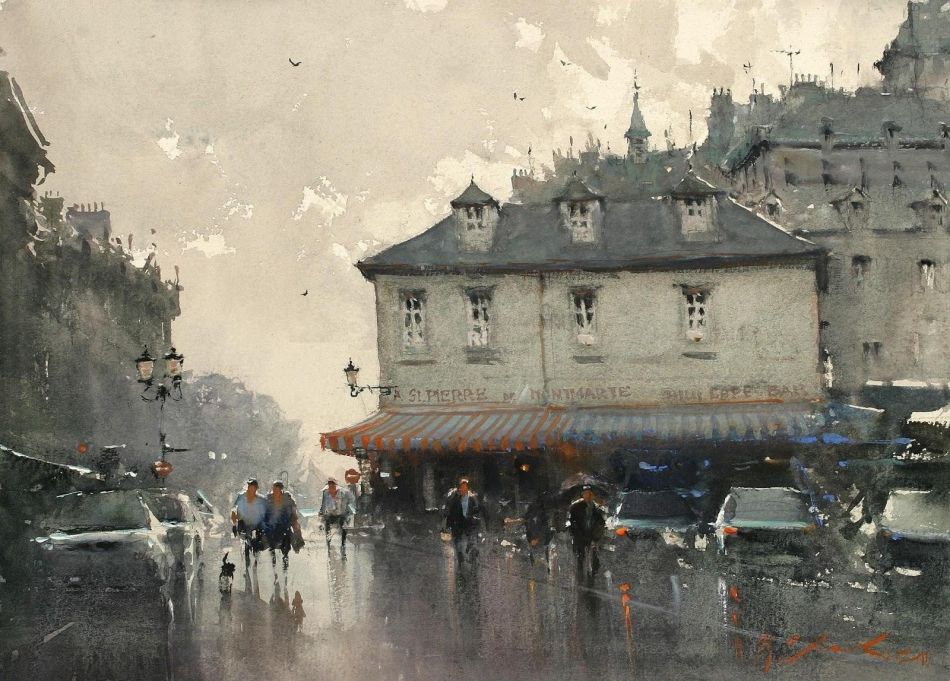Joseph Zbukvic – private collection? Title: Montmartre. Date: after 1980. Materials: watercolor. Dimensions: ? Source: http://img23.binimage.org/1e/d2/5c/watermark_test1.php.jpg.