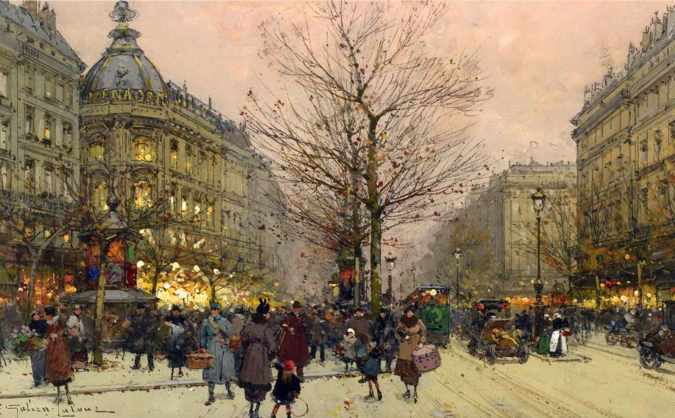 Eugène Galien-Laloue – Williams & Son. Title: Les grands boulevards. Date: c. 1900-1920. Materials: gouache. Dimensions: 19 x 31.1 cm. Source: http://asimg.artsolution.net/tsmedia/WilliamsWilphoto/Williams1792010T10113.jpg?qlt=60&cell=3000,3000&cvt=jpg.