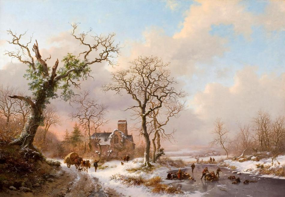 Frederik Marinus Kruseman – private collection. Title: Winter Landscape. Date: 1870. Materials: oil on canvas. Dimensions: 70 x 100 cm. Auctioned by Lyon & Turnbull in Edinburgh, on November 29, 2012. Source: http://image.masterart.com/tsmedia/WillowWilphoto/Willow2782013T18226.jpg?qlt=75&cell=2000,2000&cvt=jpg. I have changed the contrast of the original photo.