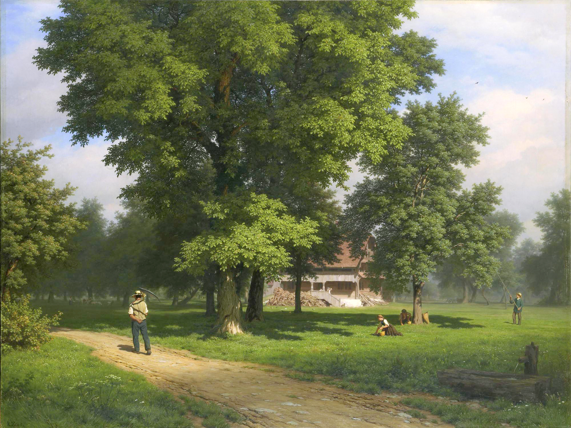 Robert Zünd – private collection. Title: Haus zwischen Nussbäumen (Schellenmatt). Date: c. 1850-1900. Materials: oil on canvas. Dimensions: 118.5 x 158.5 cm. Sold by Sotheby's in Zürich, on May 27, 2008. Source: http://www.mfa.org/collections/object/lake-george-33800. I have changed the light and contrast of the original photo.