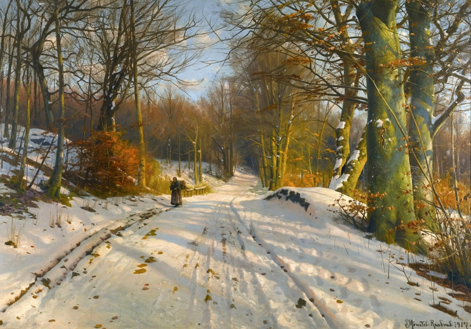 Peder Mørk Mønsted – private collection. Title: Winter Landscape. Date: 1917. Materials: oil on canvas. Dimensions: 71 x 101 cm. Inscriptions: P. Monsted. Raadrad. 1917 (lower right). Sold by Sotheby's in London, on December 10, 2014. Source: http://www.sothebys.com/content/dam/stb/lots/L14/L14102/056L14102_7QP3X.jpg. I have changed the contrast of the original photo.