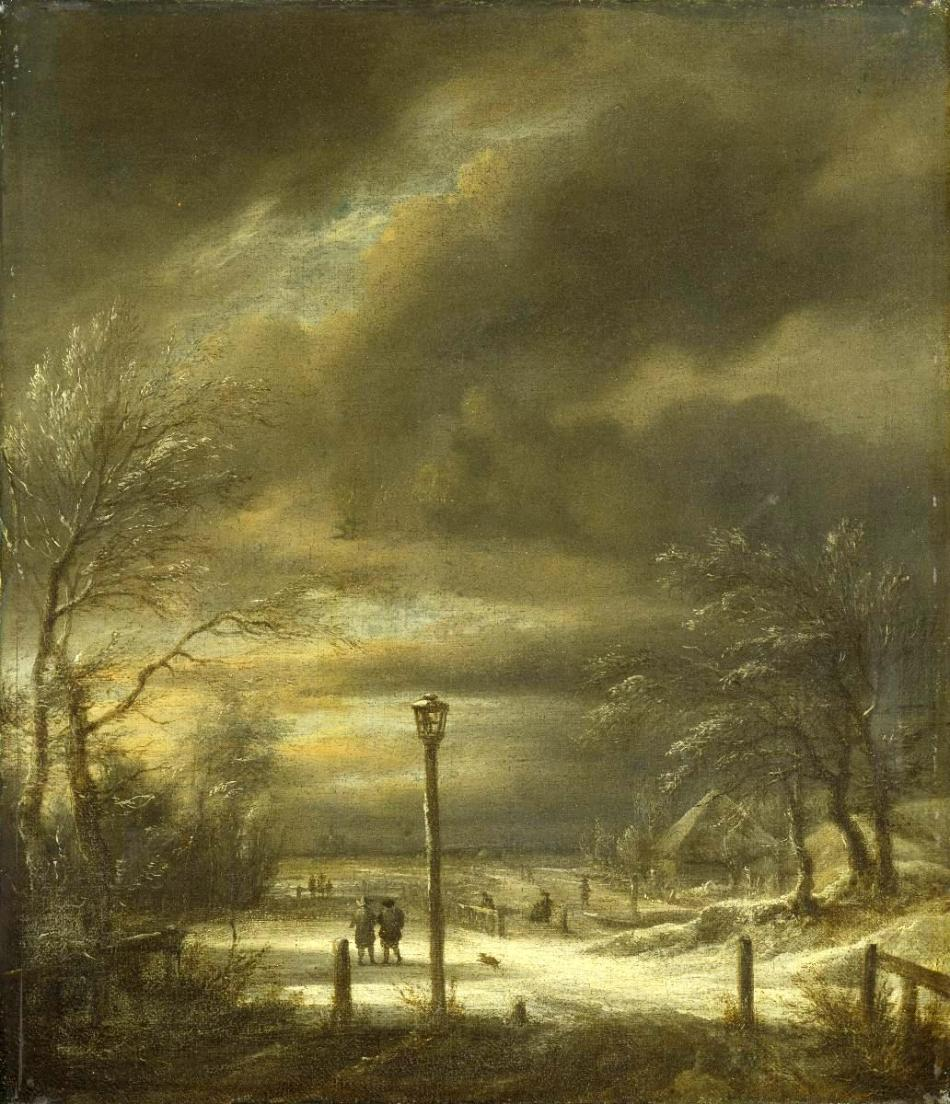 Jacob van Ruisdael – Städel Museum 1109. Title: Winterlandschaft bei Haarlem mit einem Lanternenpfahl. Date: c. 1670-1680. Materials: oil on canvas. Dimensions: 36.2 x 31.2 cm. Acquisition date: 1876. Nr.: 1109.  Source: https://digitalesammlung.staedelmuseum.de/resources/staedel/museum/images/00/00/01/10/images/1109_g.jpg. I have changed the contrast of the original photo.