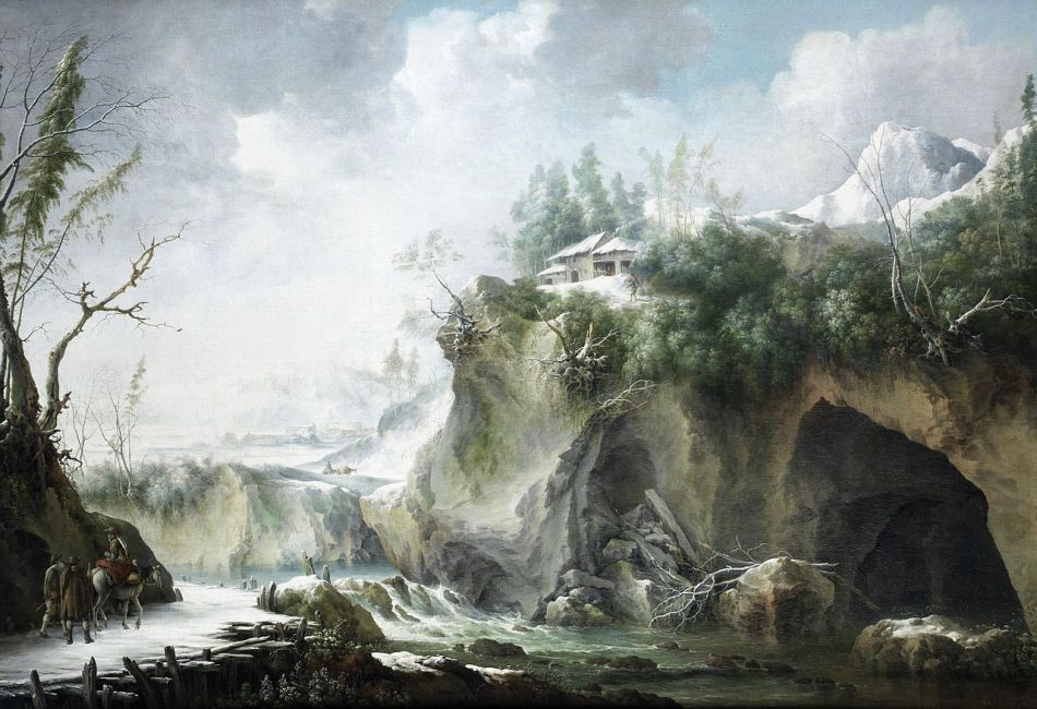 Francesco Foschi – private collection. Title: A River Landscape in Winter, With Travellers on a Snowy Path. Date: c. 1750-1780. Materials: oil on canvas. Dimensions: 122 x 170.5 cm. Auctioned by Bonhams, in London, on July 4, 2012. Source: https://commons.wikimedia.org/wiki/File:Francesco_Foschi_-_A_river_landscape_in_winter,_with_travellers_on_a_snowy_path.jpg.