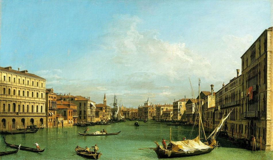 Canaletto – The Royal Collection RCIN 401404 . Title: The Grand Canal from the Palazzo Foscari to the Carità. Date: c. 1726-1727. Materials: oil on canvas. Dimensions: 49.9 x 80.3 cm. Nr.: RCIN 401404. Source: https://www.royalcollection.org.uk/collection/search#/2/collection/401404/the-grand-canal-from-the-palazzo-foscari-to-the-carita. I have changed the contrast of the original photo.