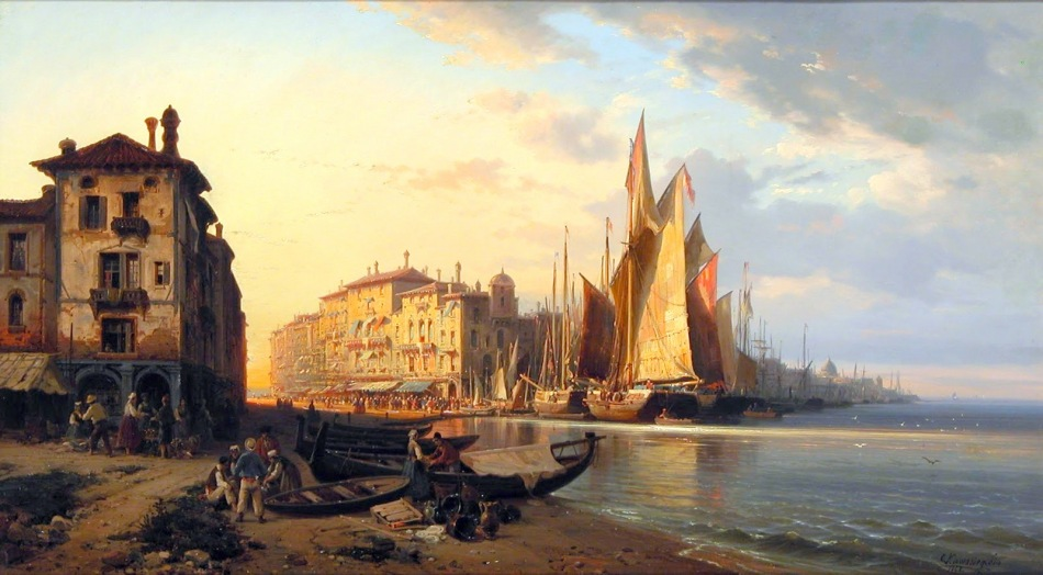 Charles Euphrasie Kuwasseg – Burlington. Title Sunlit Port, Ital. Date: 1868. Materials: oil on canvas. Dimensions: 55.9 x 74.3 cm. Source: http://4.bp.blogspot.com/-pnZx0w9WMBg/VUY6M9Y91MI/AAAAAAAAcnI/IFG4D2B0fJE/s1600/4%2Bkuwasseg%2B%2B%2B%2BSunlit%2BPort%2C%2BItaly.jpg. I have changed the light, contrast and colors of the original photo.