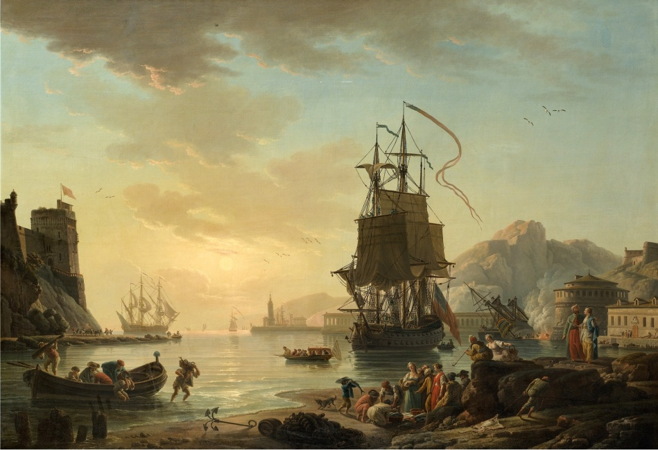 Claude-Joseph Vernet (studio of) – private collection. Title: View of a Mediterranean Harbor with Fishermen and a Vessel. Date: 1773. Materials: oil on canvas. Dimensions: 115.5 x 164.5 cm. Inscriptions: J. Vernet fecit. 1773 (lower centre). Sold by Sotheby's in Paris, on November 4-5, 2015. Source: http://www.sothebys.com/content/dam/stb/lots/PF1/PF1511/656PF1511_8H8N_1.jpg. I have changed the contrast of the original photo. Two almost identical paintings in the Louvre (dated 1774) and in the Luxembourg Palace (dated in 1772).