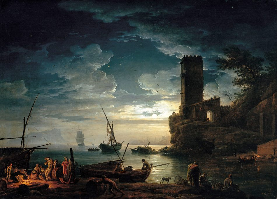 Claude Joseph Vernet – Museo Thyssen-Bornemisza CTB.1994.6. Title: Night: Mediterranean Coast Scene with Fishermen and Boats. Date: 1753. Materials: oil on canvas. Dimensions: 96.5 x 134.6 cm. Nr.:  CTB.1994.6. Source: http://www.museothyssen.org/en/thyssen/zoom_obra/1096. I have changed the light of the original photo