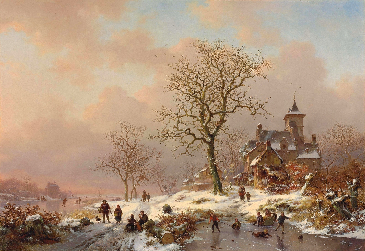Frederik Marinus Kruseman – private collection. Title: Winter landscape with figures playing on the ice. Date: 1868. Materials: oil on canvas. Dimensions: 70 x 100.7 cm. Inscriptions: F.M.Kruseman/1868 fec. (lower right). Sold by Christie's in London, on June 12, 2012. Source: http://www.christies.com/lotfinderimages/d55762/d5576204a.jpg. I have changed the light and contrast of the original photo.