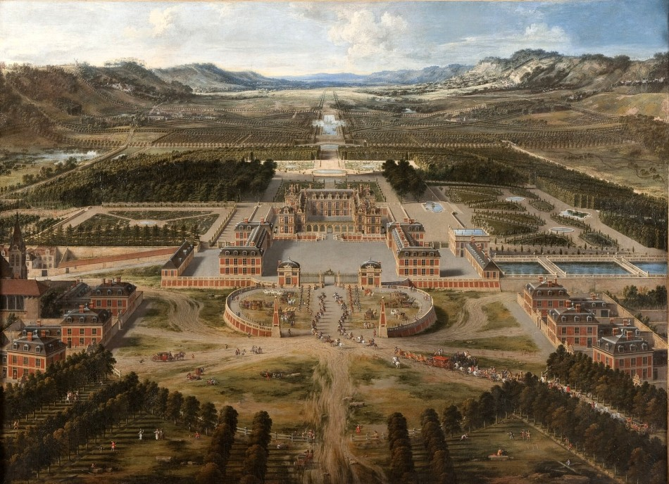 Pierre Patel – Château de Versailles MV 765. Title: Vue du château et des jardins de Versailles, prise de l'avenue de Paris. Date: 1668. Materials: oil on canvas. Dimensions: 115 x 161 cm. Acquisition date: 1837. Nr. MV 765. Sourcehttp://collections.chateauversailles.fr/#60c4ea23-cc48-46e7-9ba8-587bebc93050. I have changed the contrast of the original photo.