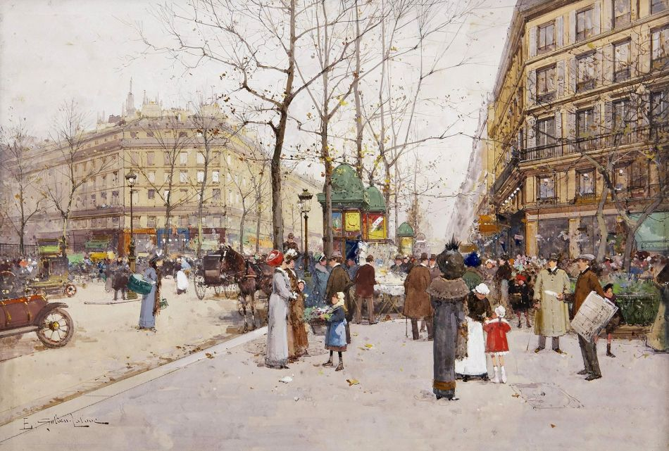 Eugène Galien-Laloue – private collection. Title: Elégantes sur les Grands Boulevards parisiens. Date: 1889. Materials: pencil and watercolor on card. Dimensions: 39 x 55.5 cm. Inscriptions: E. Galien-Laloue (lower left). Sold by Christie's in London, on June 26, 2007. Source: http://www.galeriearyjan.com/docs/larges/Eugene-Galien-Laloue_Boulevard-des-Capucines-La-place-de-la-Madeleine.jpg. I have changed the contrast of the original photo.