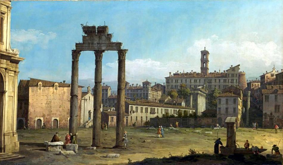 Bernardo Bellotto - National Gallery of Victoria 964-3. Title: Ruins of the Forum, Rome. Date: c. 1743. Materials: oil on canvas. Dimensions: 87 x 148 cm. Acquisition date: 1919. Nr.: 964-3. Source: http://www.ngv.vic.gov.au/explore/collection/work/3779/. P.S. I have changed the light, contrast and colors of the original photo.