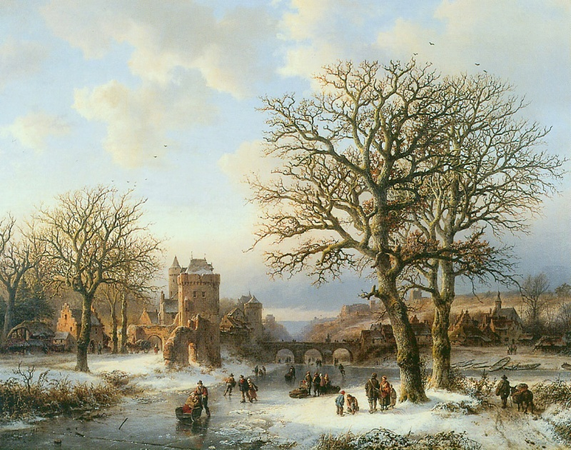 Barend Cornelis Koekkoek – B.C. Koekkoek-Huis. Title: Winterlandschaft. Date: 1857. Materials: oil on canvas? Dimensions: unknown. Source: https://static.mijnwebwinkel.nl/winkel/budgetschilderij/full8476268.jpg?