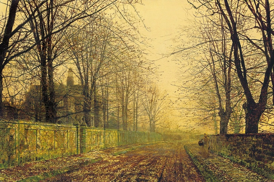 John Atkinson Grimshaw – private collection. Title: The Sere and Yellow Leaf. Date: c.1883-1884. Materials: oil on canvas. Dimensions: 30.5 x 45.7 cm. Inscriptions: Atkinson Grimshaw (lower left); further signed and inscribed: In the Sere and Yellow/Atkinson Grimshaw (on the reverse). Sold by Christie's in London, on June 5, 2008. Source: http://4.bp.blogspot.com/-MmJFvThrcfM/VH9sqh8yg5I/AAAAAAADooA/C4wQyZsCM-s/s1600/John%2BAtkinson%2BGrimshaw-www.kaifineart.com-6.jpg.