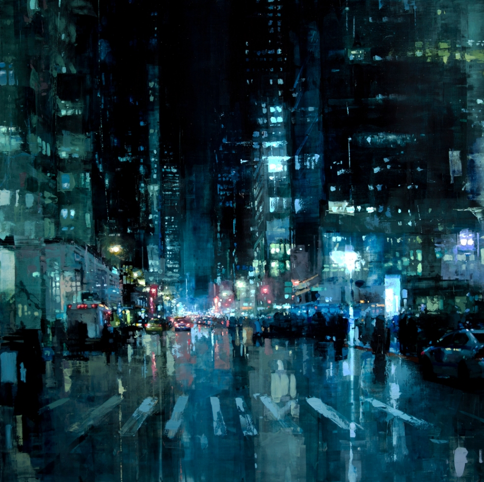 Jeremy Mann – private collection. Title: Manhattan NIghts. Date: 2013. Materials: oil on panel. Dimensions: 121.9 x 121.9 cm. Source: http://globalvirtualgallery.com/wp-content/uploads/2015/06/Manhattan-Nights.jpg.mn