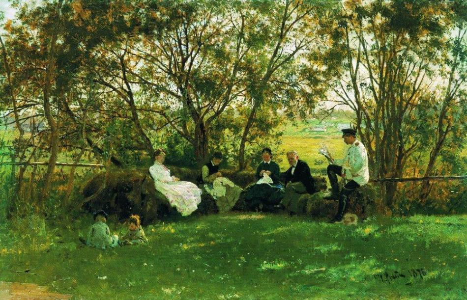 Ilya Repin – The Russian Museum. Title: На дерновой скамье/On a Turf Bench . Date: 1876. Materials: oil on canvas. Dimensions: 36 x 55 cm. Source: http://uploads1.wikiart.org/images/ilya-repin/on-a-turf-bench-1876.jpg. I have changed the contrast of the original photo.