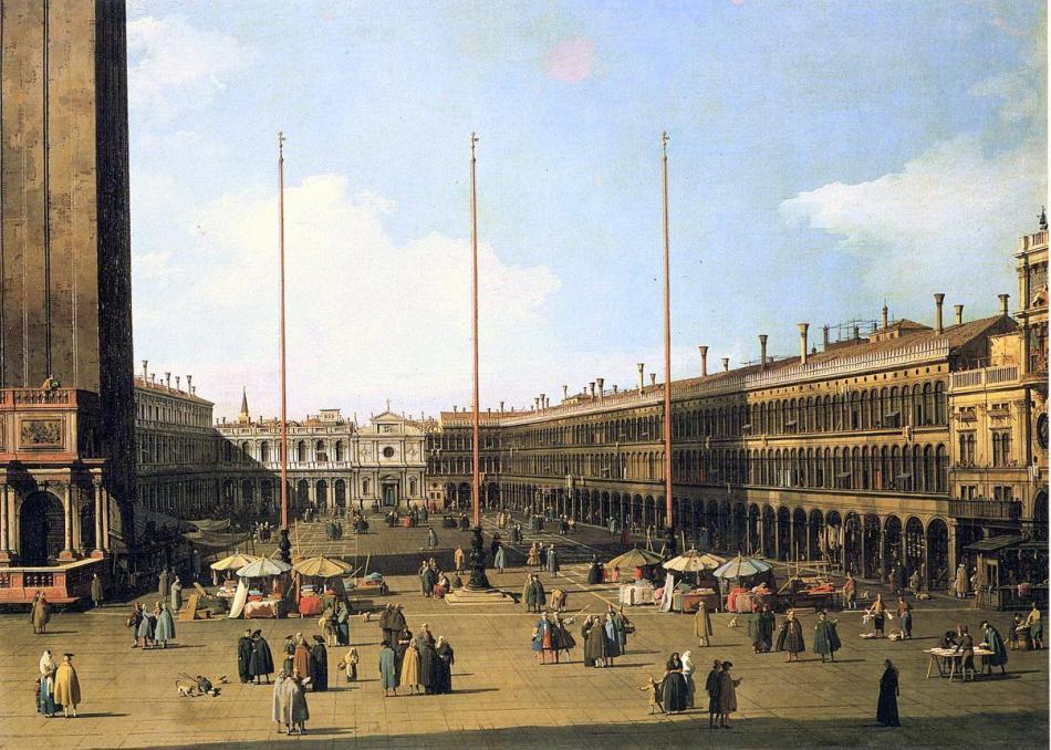 Canaletto – Galleria Nazionale d'Arte Antica in Palazzo Barberini Inv. 1061. Title: Venezia, veduta di piazza San Marco con le Procuratie. Date: c.1735. Materials: oil on canvas. Dimensions: 68.5 x 94 cm. Nr.: Inv.1061. Acquisition date: 1892. Source: http://uploads8.wikiart.org/images/canaletto/piazza-san-marco-looking-towards-san-geminiano.jpg. I have changed the light, contrast and colors of the original photo.